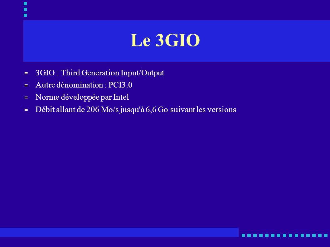 Le 3GIO = 3GIO : Third Generation Input/Output = Autre dénomination : PCI3.0 = Norme développée par Intel = Débit allant de 206 Mo/s jusqu'à 6,6 Go su