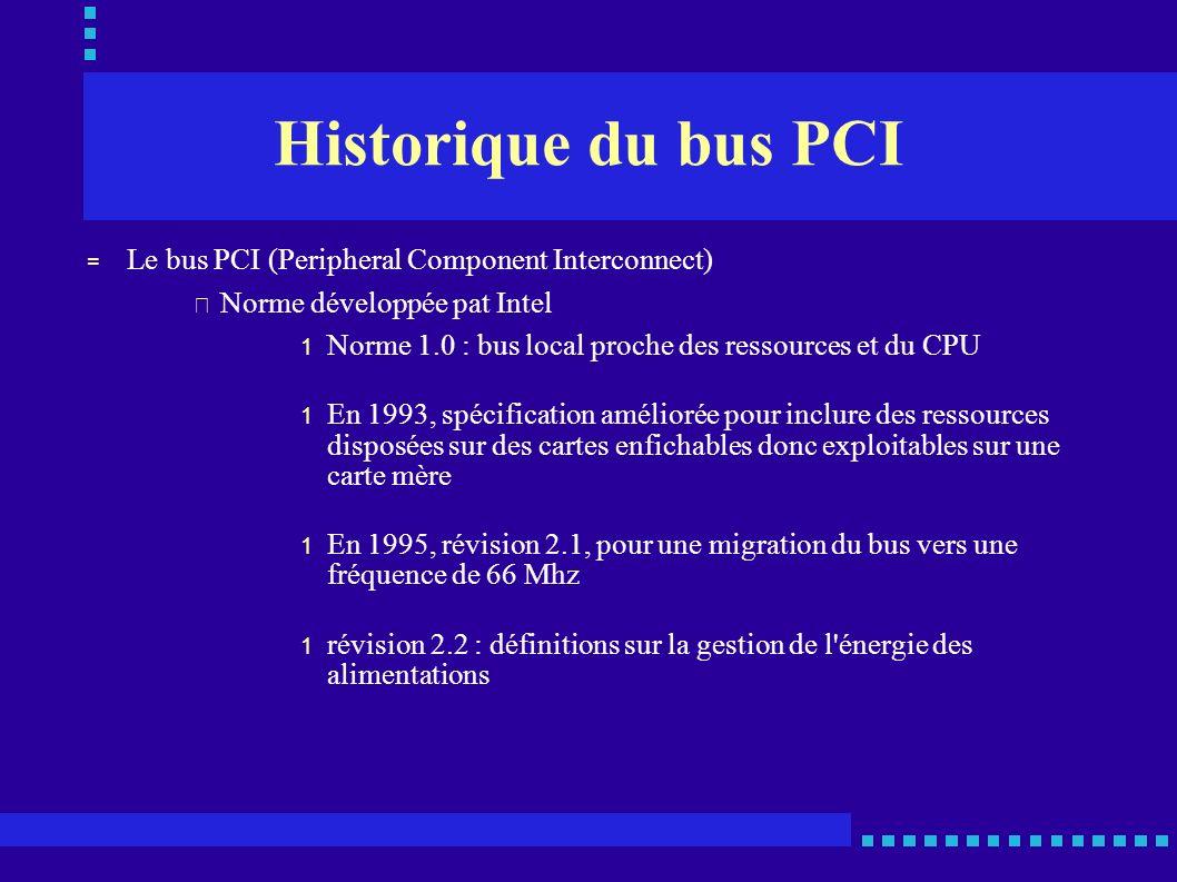 Présentation du bus PCI = Le bus PCI permet de relier entre eux les différents périphériques se trouvant à l intérieur d un PC (carte vidéo, carte réseau, carte son,...) = Bus synchrone = Vitesse de l horloge de 33 Mhz ou 66 Mhz = Largeur du bus de 32 bits ou 64 bits d adresse et de données = La bande passante crête va de 123 Mo/s (32 bits à 33 Mhz) à 528 Mo/s (64 bits à 66 Mhz) = Principe Maître/esclave (plusieurs maîtres possibles ) = Utilisation d un minimum de signaux de communications = interconnexion de 4 cartes maximum = Unité de gestion d accès au bus et gestionnaire d interruptions