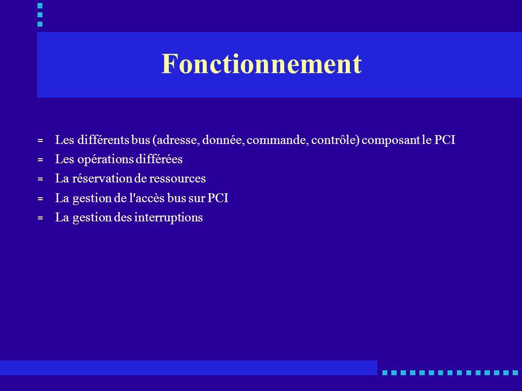 Fonctionnement = Pour le transfert de données (par paquets), le PCI se compose : • D un bus d adresses et de données multiplexées (AD[31..00]) 1 32 bits en adressage comme en données 1 espace adressable de 4 Go 1 Phase d adressage : bus porteur d adresses 1 Phase suivante : bus porteur de données • D un bus de commandes et de validation d octets (C/BE[3..0]*) 1 phase @ : transmet la commande de bus 1 phase suivante : bus de validation des octets sur le bus de données • D un bus de contrôle qui regroupe les signaux gérés par le maître 1 FRAME* : Départ et validation de transaction 1 IRDY* : Etat du maître de l échange