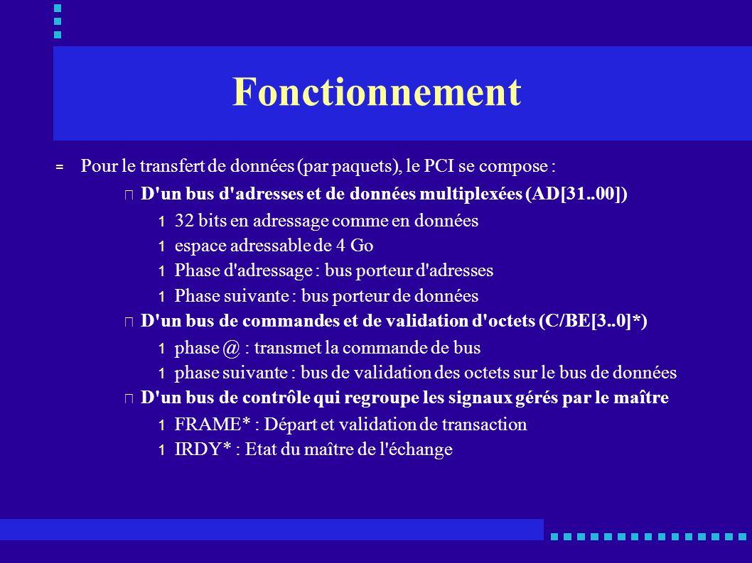 Fonctionnement = Pour le transfert de données (par paquets), le PCI se compose : • D'un bus d'adresses et de données multiplexées (AD[31..00]) 1 32 bi