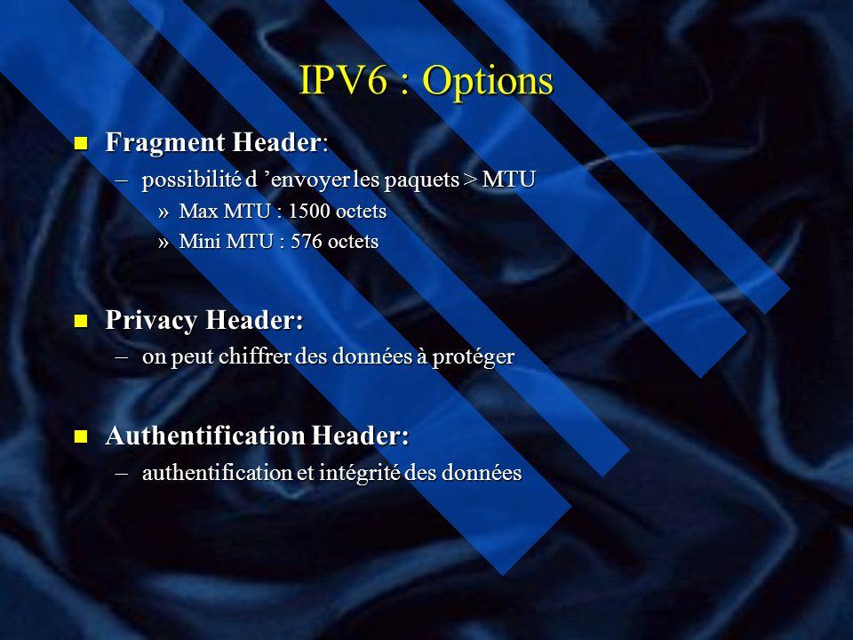 IPV6 : Options n Hop-by-Hop-Header : on examine sur chaque nœud le transport d information n End-to-End-Header : le destinataire d information exmine