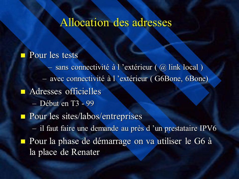 Adresses IPV6 et Allocation des adresses n Différents types d adresses: –Globales Unicast –Site Cast –Anycast –Link local »Spéciales: ( loopback, IPV4