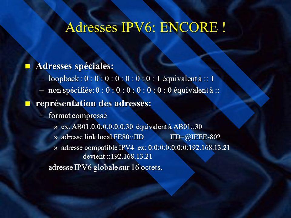 Identifiant d interface (IID) n Dans le standard IEEE-802 l adresse MAC fait 48 bits n EUI-64 étendu à 64 bits n IID=EUI-64 n Exemple: –l adresse MAC