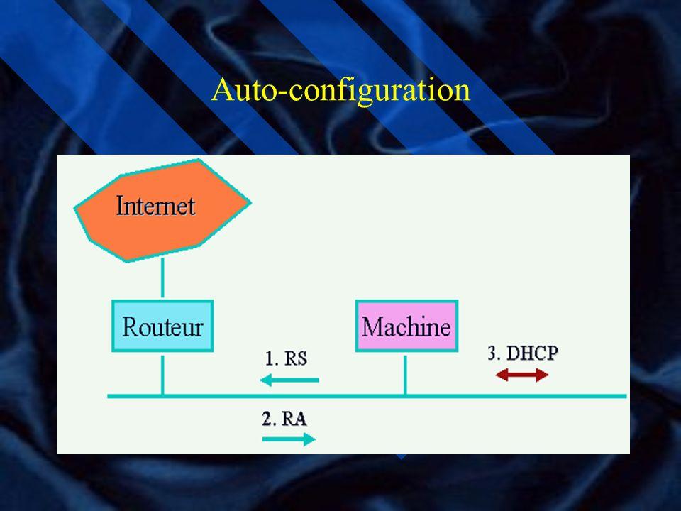 ND suite 5 types de paquets ICMP: RS (Router Solicitation) RA ( Router Advertisement) annonce périodique de la présence d un routeur NS (Neighbor Soli