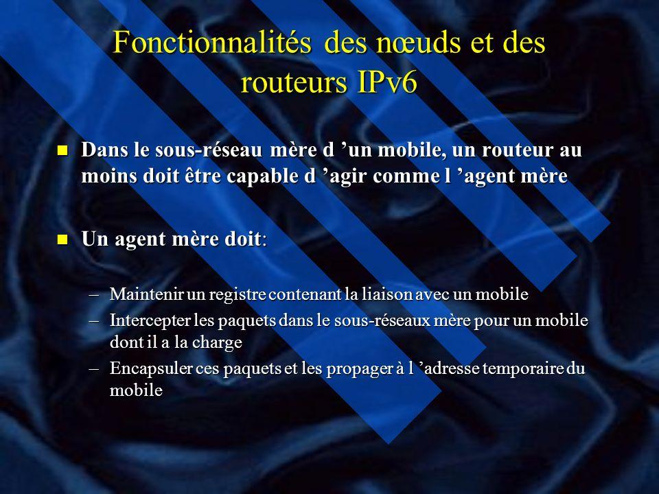 Fonctionnalités des nœuds et des routeurs IPv6 n Dans la mobilité, certaines fonctionnalités sont présentés sur tout nœud IPv6 qui doit être capable d