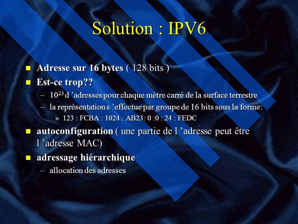 IPv6 IPv4: Double Pile IP n Les équipements acheminent le trafic IPv4 et IPv6 n Il ne résout pas le problème de pénurie des adresses IPv4 n Les applications compilées pour IPv6 (resp IPv4): utilisent les adresses d IPv4 mappée (resp adresses d IPv6) n Allouer dynamiquement une adresse IPv4 à un équipement IPv6 s il y a communication avec l équipement IPv4