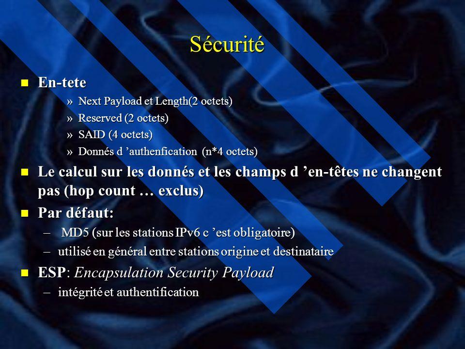 Sécurité n La sécurité - RFC 2401-2411: –Ipv 4 et IPv6, Authentification, Intégrité, Confidentialité n La sécurité est indépendante des algorithmes de