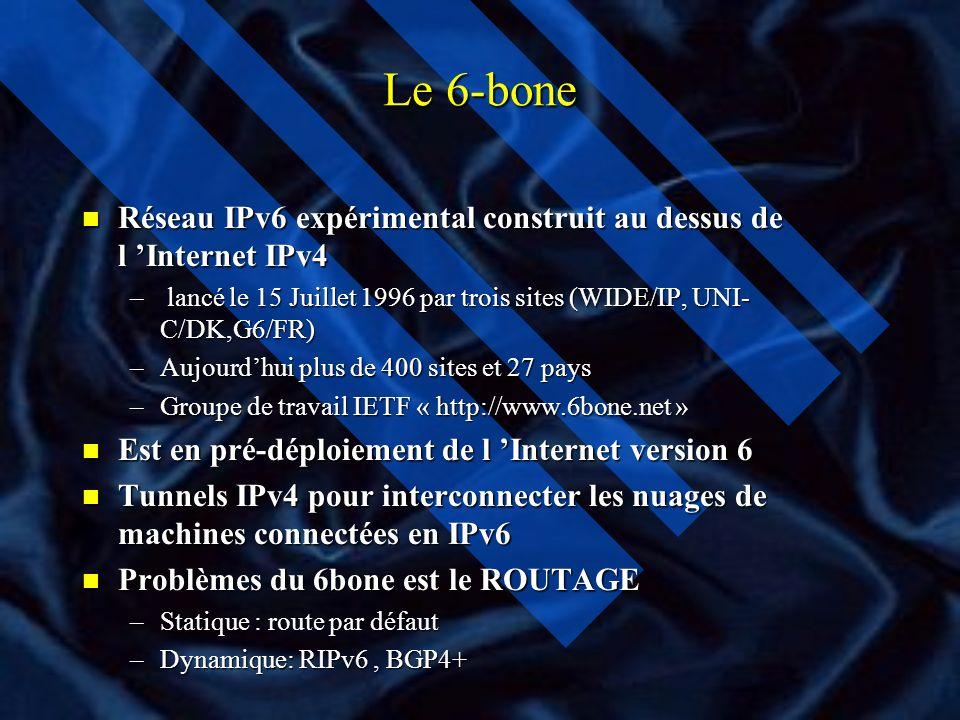 IPv6 IPv4: Double Pile IP n Les équipements acheminent le trafic IPv4 et IPv6 n Il ne résout pas le problème de pénurie des adresses IPv4 n Les applic