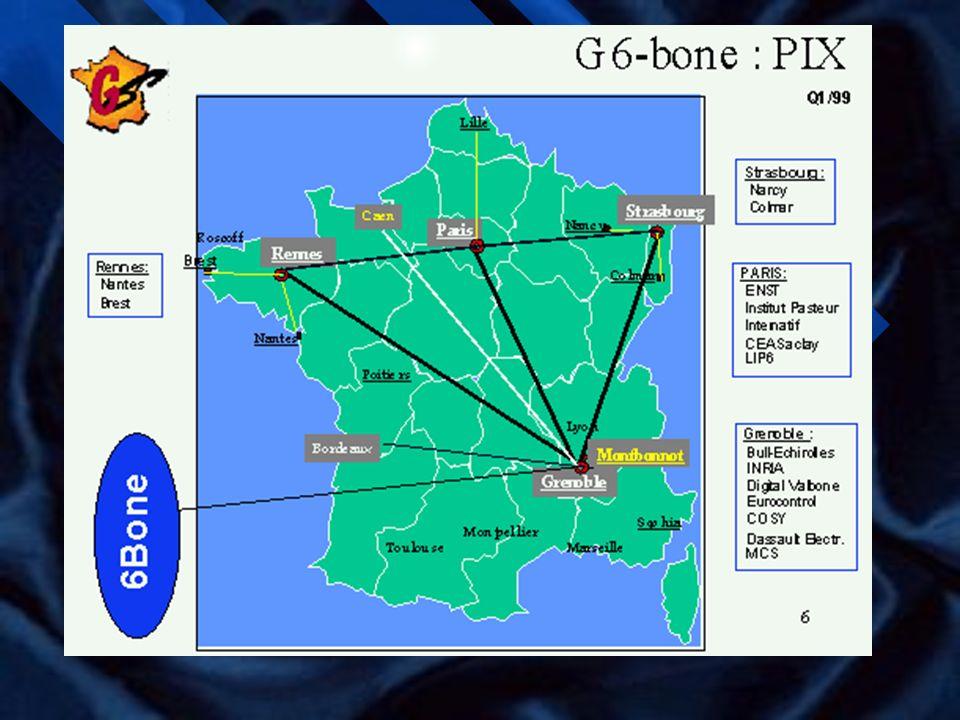 Le G6 n G6 est un groupe français d expérimentation IPv6 crée en 1995 qui regroupe des académiques et des industriels: –CNRS, ENST, INRIA –Universités