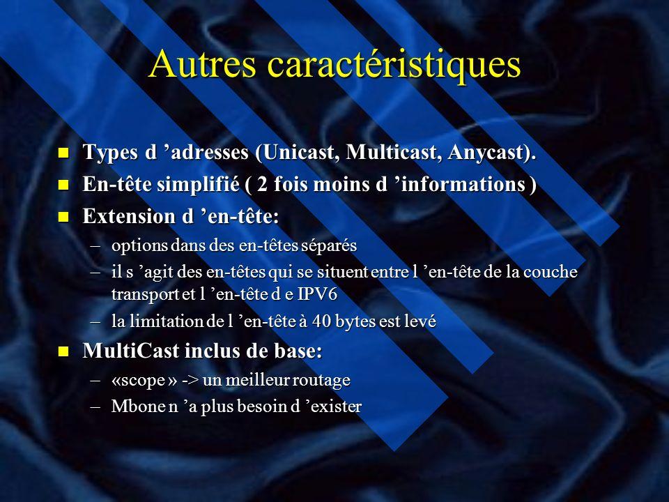 Autres caractéristiques n Types d adresses (Unicast, Multicast, Anycast).