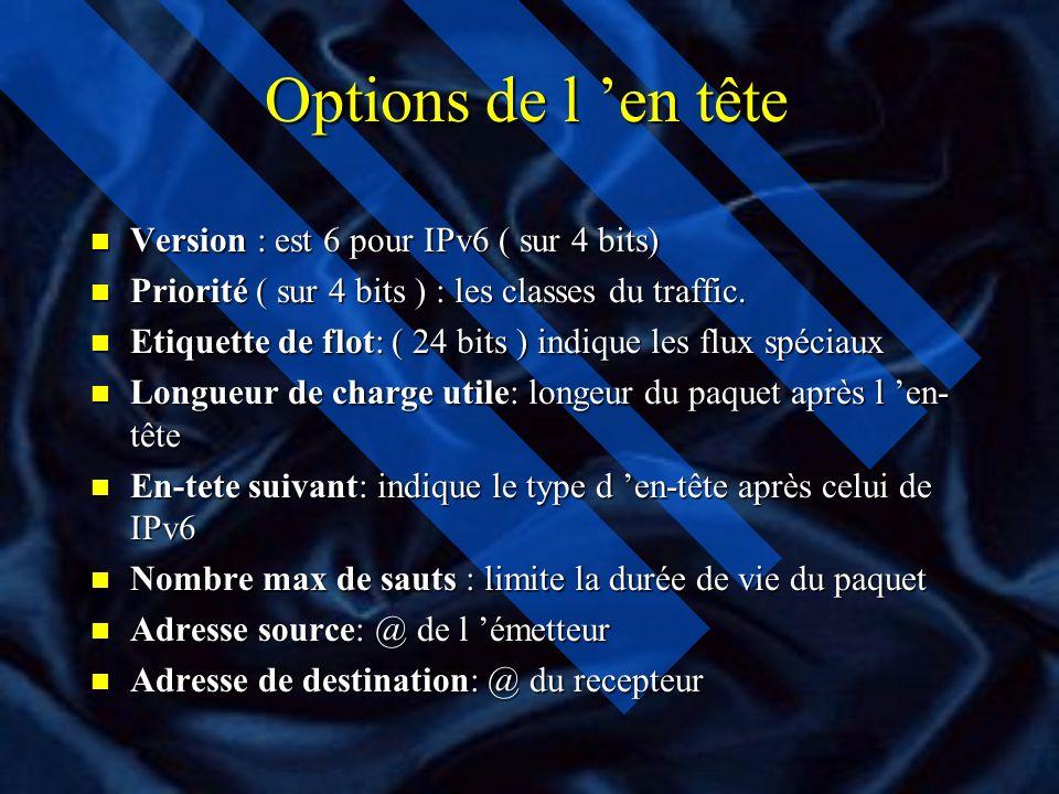 Options de l en tête n Version : est 6 pour IPv6 ( sur 4 bits) n Priorité ( sur 4 bits ) : les classes du traffic.