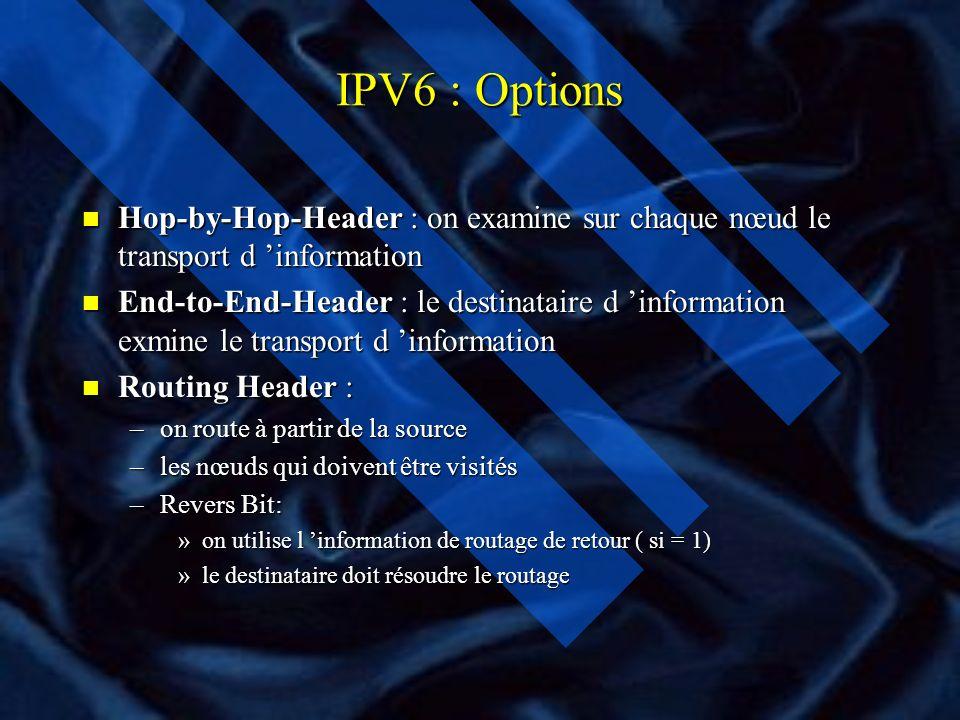 IPV6 : Options n Hop-by-Hop-Header : on examine sur chaque nœud le transport d information n End-to-End-Header : le destinataire d information exmine le transport d information n Routing Header : –on route à partir de la source –les nœuds qui doivent être visités –Revers Bit: »on utilise l information de routage de retour ( si = 1) »le destinataire doit résoudre le routage