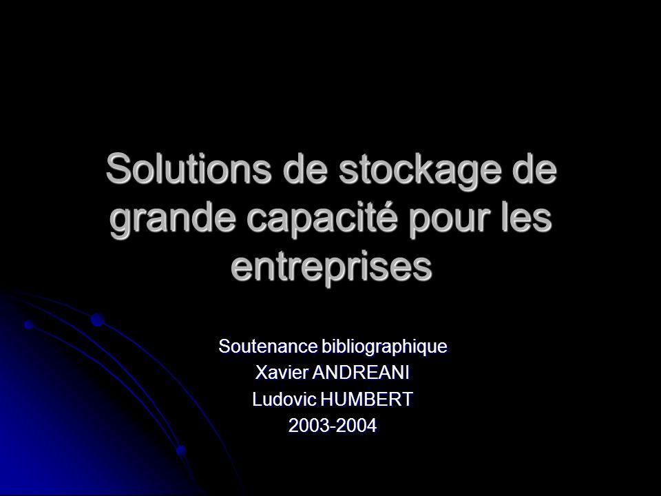 Solutions de stockage de grande capacité pour les entreprises Soutenance bibliographique Xavier ANDREANI Ludovic HUMBERT 2003-2004
