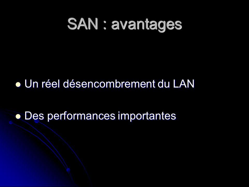 SAN : avantages Un réel désencombrement du LAN Un réel désencombrement du LAN Des performances importantes Des performances importantes