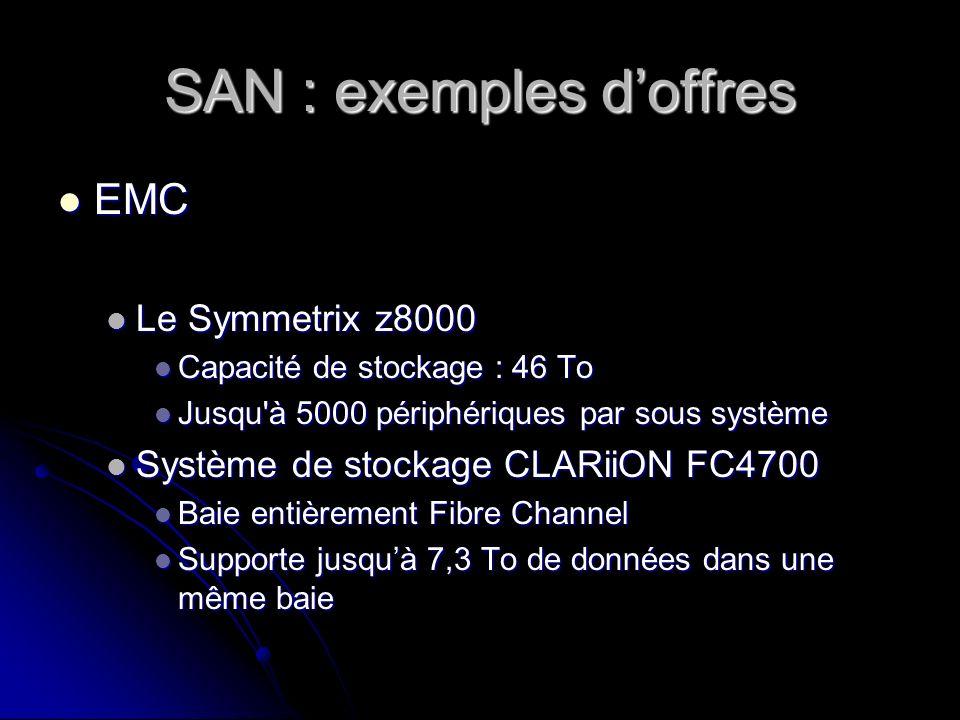 SAN : exemples doffres EMC EMC Le Symmetrix z8000 Le Symmetrix z8000 Capacité de stockage : 46 To Capacité de stockage : 46 To Jusqu'à 5000 périphériq