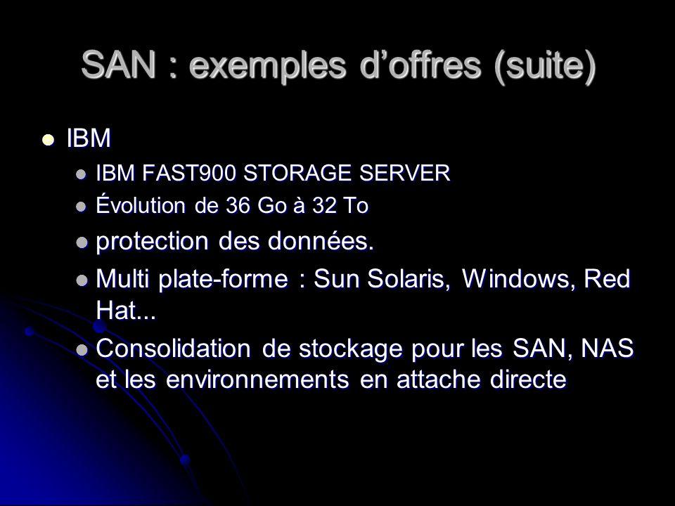SAN : exemples doffres (suite) IBM IBM IBM FAST900 STORAGE SERVER IBM FAST900 STORAGE SERVER Évolution de 36 Go à 32 To Évolution de 36 Go à 32 To pro