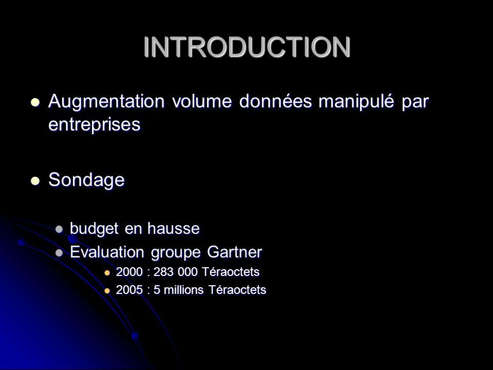 INTRODUCTION Augmentation volume données manipulé par entreprises Augmentation volume données manipulé par entreprises Sondage Sondage budget en hauss