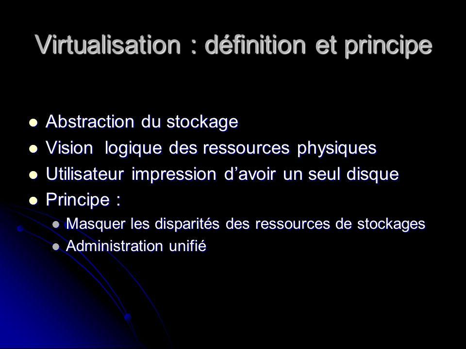 Virtualisation : définition et principe Abstraction du stockage Abstraction du stockage Vision logique des ressources physiques Vision logique des res