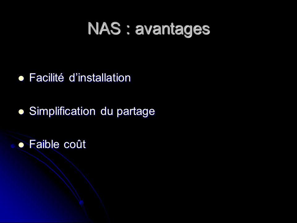 NAS : principaux fournisseurs EMC EMC Celerra Celerra CLARiiON CLARiiON Network Appliance Network Appliance FAS 900 : jusqu à 46 To FAS 900 : jusqu à 46 To F800 : F810 (1,5 To) et F880(6 To) F800 : F810 (1,5 To) et F880(6 To) F250 (1 To) F250 (1 To) Quantum Quantum Produit Snap Server (de 40 Go à 1 To) Produit Snap Server (de 40 Go à 1 To) Maxtor Maxtor MaxAttach 4000 (320 Go à 640 Go) MaxAttach 4000 (320 Go à 640 Go) MaxAttach 6000 (1,5 To à 5,7 To) MaxAttach 6000 (1,5 To à 5,7 To)