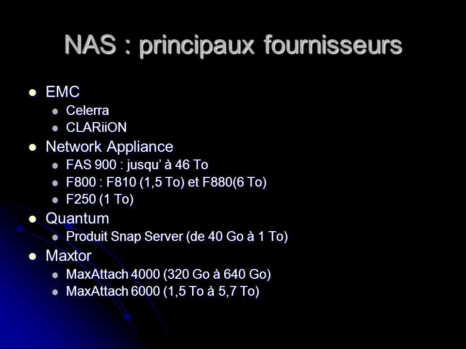 NAS : principaux fournisseurs EMC EMC Celerra Celerra CLARiiON CLARiiON Network Appliance Network Appliance FAS 900 : jusqu à 46 To FAS 900 : jusqu à