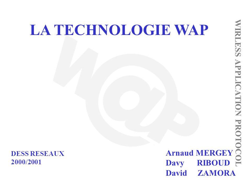 LA TECHNOLOGIE WAP WIRLESS APPLICATION PROTOCOL Arnaud MERGEY Davy RIBOUD David ZAMORA DESS RESEAUX 2000/2001