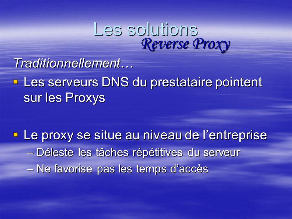 Les solutions Traditionnellement… Les serveurs DNS du prestataire pointent sur les Proxys Les serveurs DNS du prestataire pointent sur les Proxys Le proxy se situe au niveau de lentreprise Le proxy se situe au niveau de lentreprise –Déleste les tâches répétitives du serveur –Ne favorise pas les temps daccès Reverse Proxy