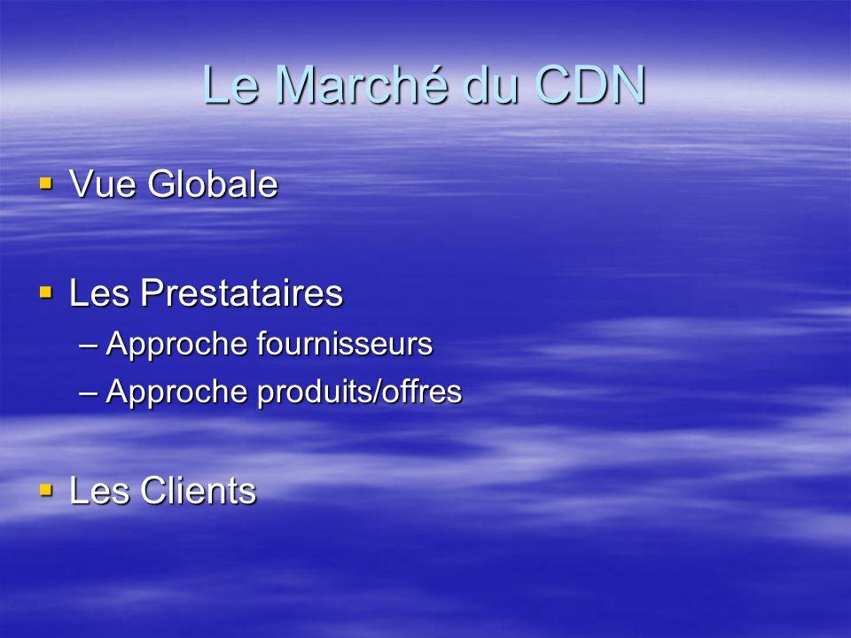 Le Marché du CDN Vue Globale Vue Globale Les Prestataires Les Prestataires –Approche fournisseurs –Approche produits/offres Les Clients Les Clients