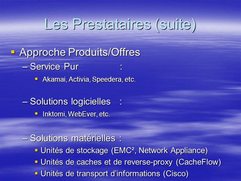 Les Prestataires (suite) Approche Produits/Offres Approche Produits/Offres –Service Pur : Akamai, Activia, Speedera, etc.