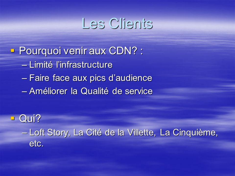 Les Clients Pourquoi venir aux CDN. : Pourquoi venir aux CDN.