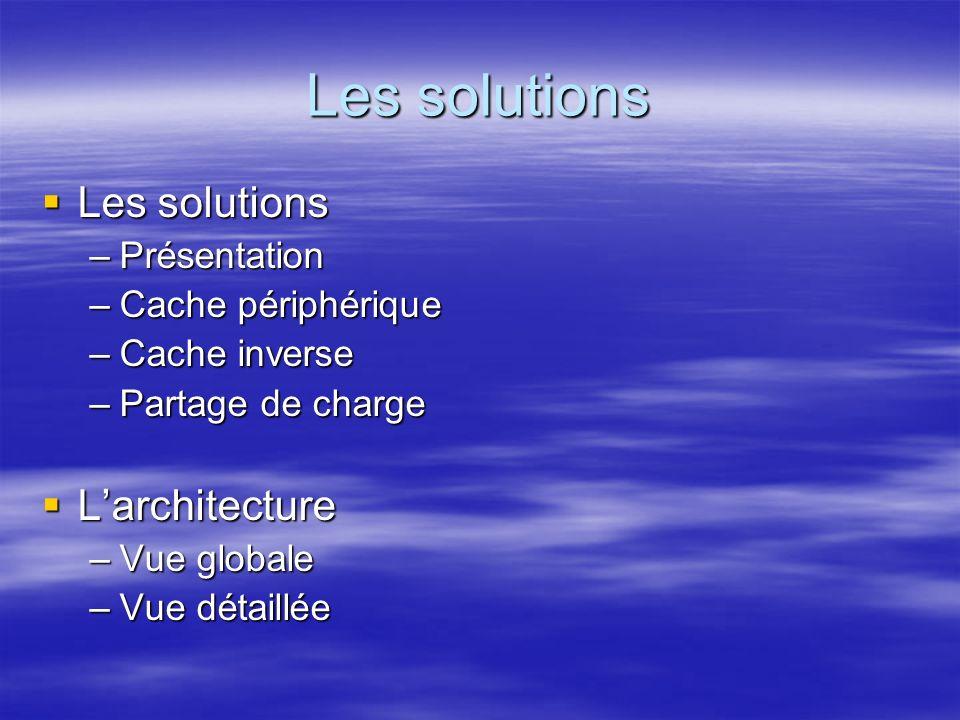 Les solutions Les solutions –Présentation –Cache périphérique –Cache inverse –Partage de charge Larchitecture Larchitecture –Vue globale –Vue détaillée Les solutions