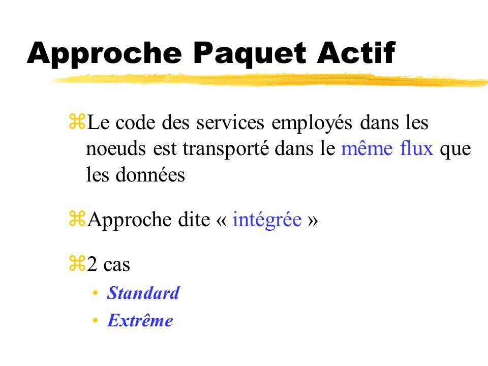 Approche Paquet Actif zLe code des services employés dans les noeuds est transporté dans le même flux que les données zApproche dite « intégrée » z2 c