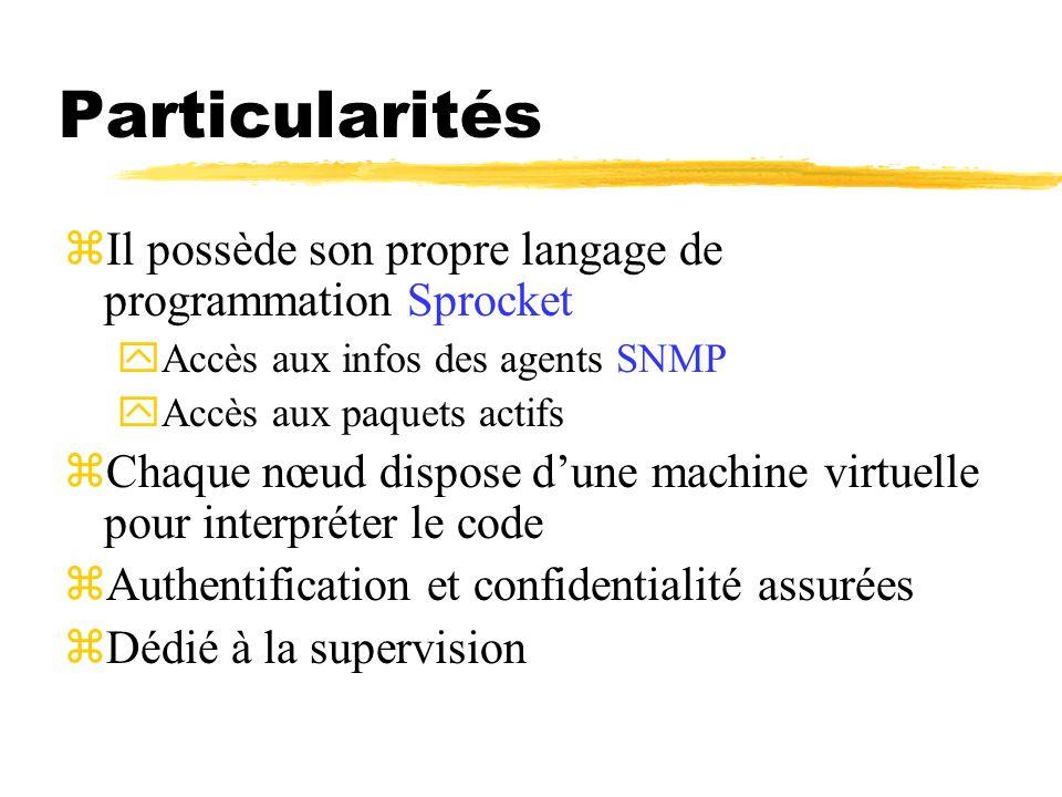 Particularités zIl possède son propre langage de programmation Sprocket yAccès aux infos des agents SNMP yAccès aux paquets actifs zChaque nœud dispos