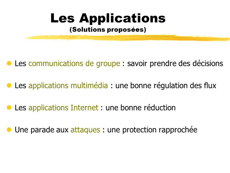 Les Applications (Solutions proposées) lLes communications de groupe : savoir prendre des décisions lLes applications multimédia : une bonne régulatio