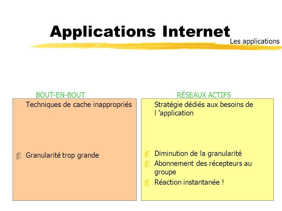 Applications Internet Techniques de cache inappropriés 4Granularité trop grande Stratégie dédiés aux besoins de l application 4 Diminution de la granu