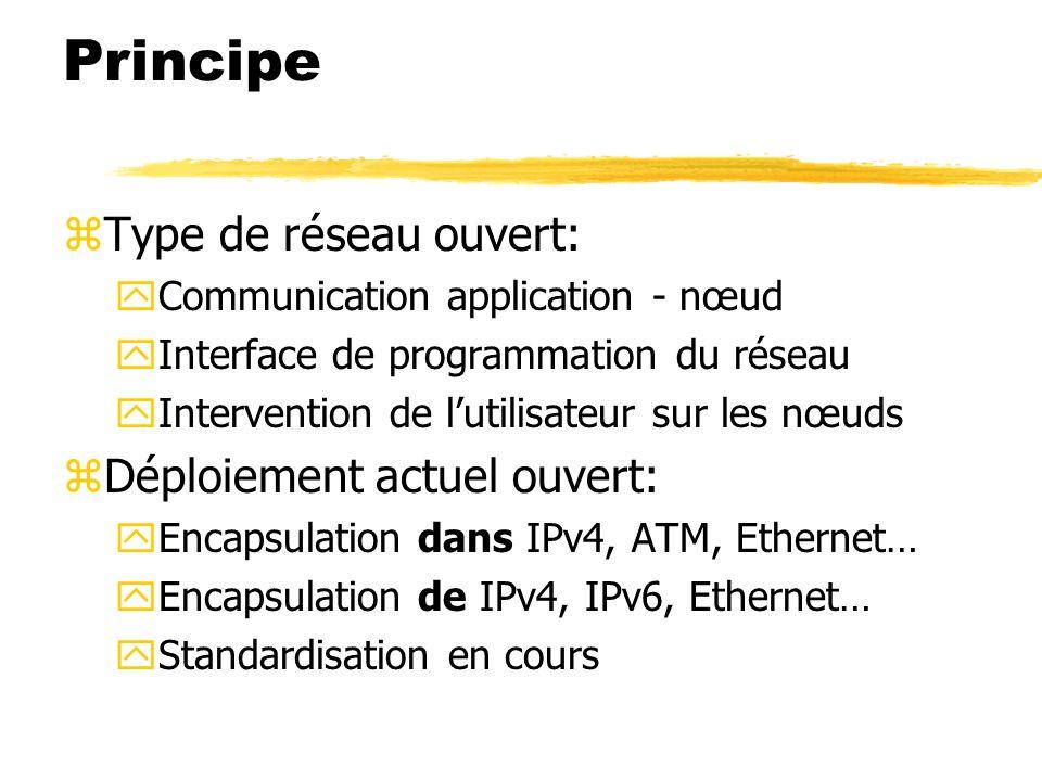 Principe zType de réseau ouvert: yCommunication application - nœud yInterface de programmation du réseau yIntervention de lutilisateur sur les nœuds z