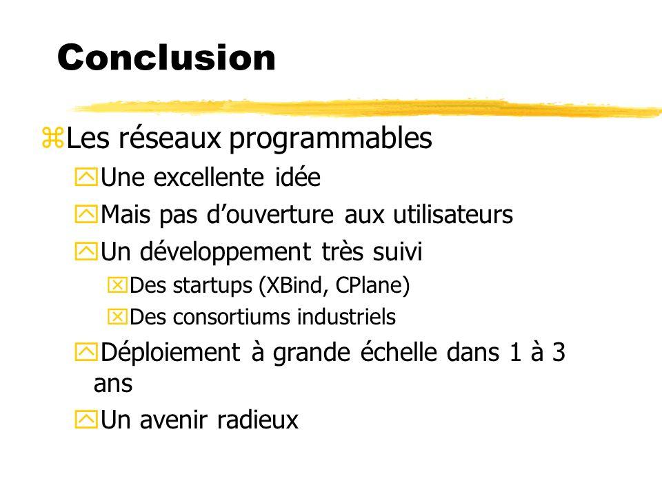 Conclusion zLes réseaux programmables yUne excellente idée yMais pas douverture aux utilisateurs yUn développement très suivi xDes startups (XBind, CP