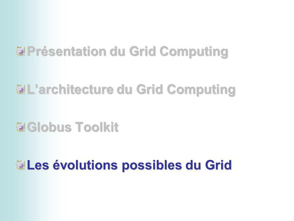 Présentation du Grid Computing Larchitecture du Grid Computing Globus Toolkit Les évolutions possibles du Grid