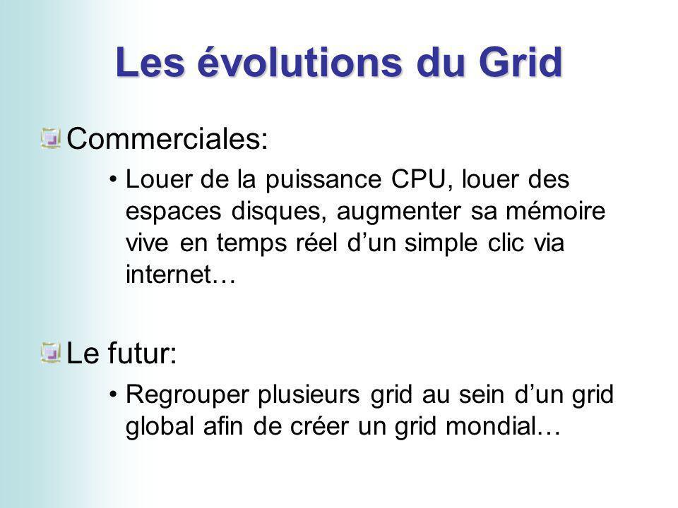 Les évolutions du Grid Commerciales: Louer de la puissance CPU, louer des espaces disques, augmenter sa mémoire vive en temps réel dun simple clic via internet… Le futur: Regrouper plusieurs grid au sein dun grid global afin de créer un grid mondial…
