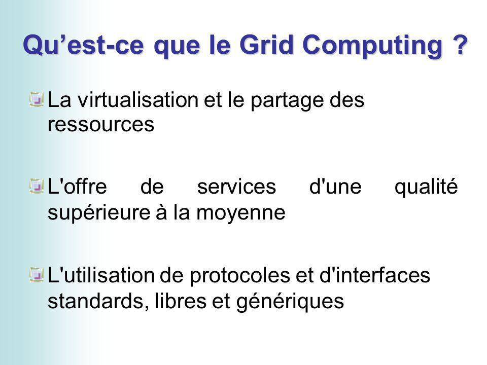 Quest-ce que le Grid Computing ? La virtualisation et le partage des ressources L'offre de services d'une qualité supérieure à la moyenne L'utilisatio