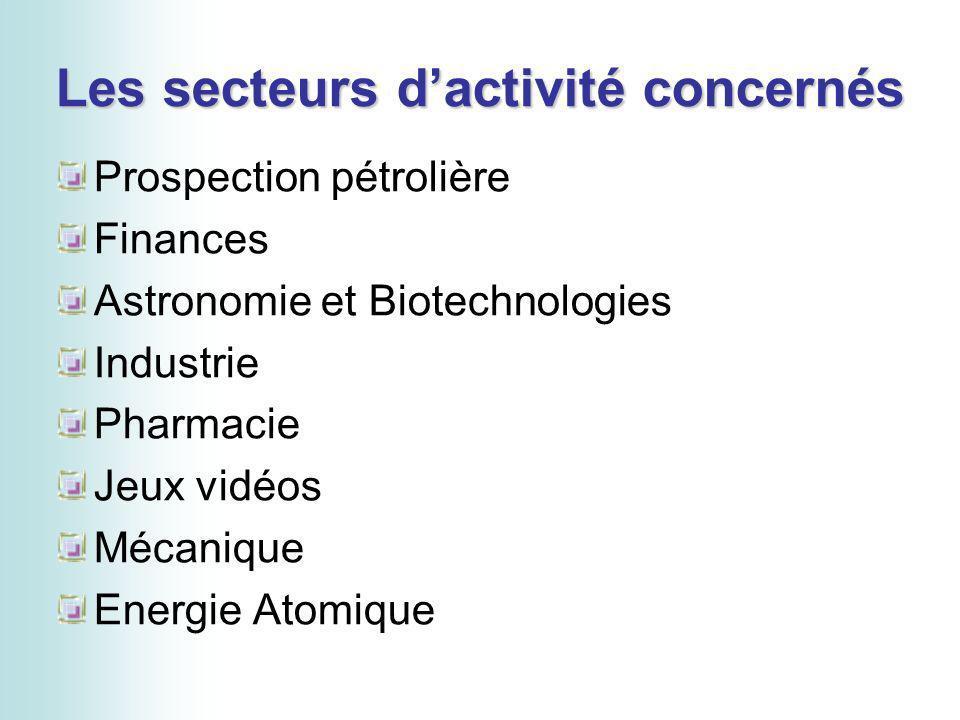 Les secteurs dactivité concernés Prospection pétrolière Finances Astronomie et Biotechnologies Industrie Pharmacie Jeux vidéos Mécanique Energie Atomi