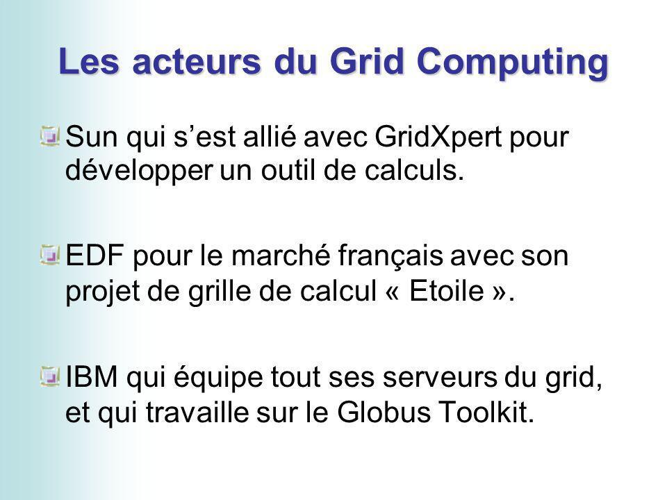 Les acteurs du Grid Computing Sun qui sest allié avec GridXpert pour développer un outil de calculs. EDF pour le marché français avec son projet de gr
