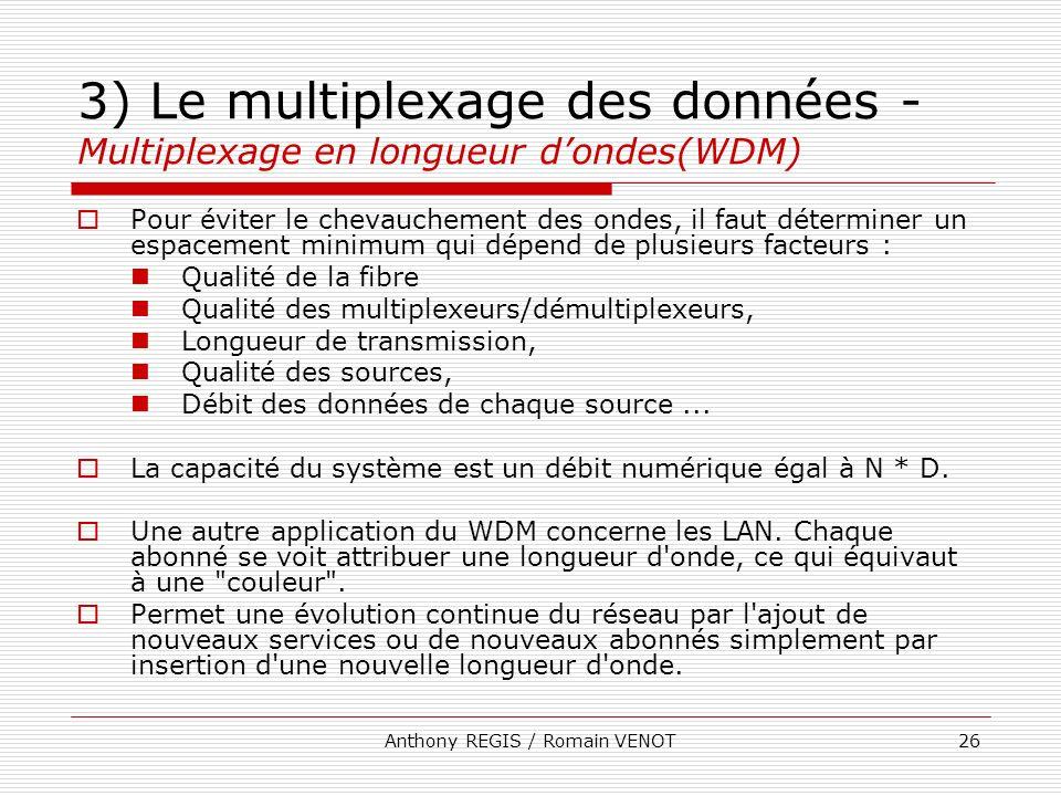 Anthony REGIS / Romain VENOT26 3) Le multiplexage des données - Multiplexage en longueur dondes(WDM) Pour éviter le chevauchement des ondes, il faut d