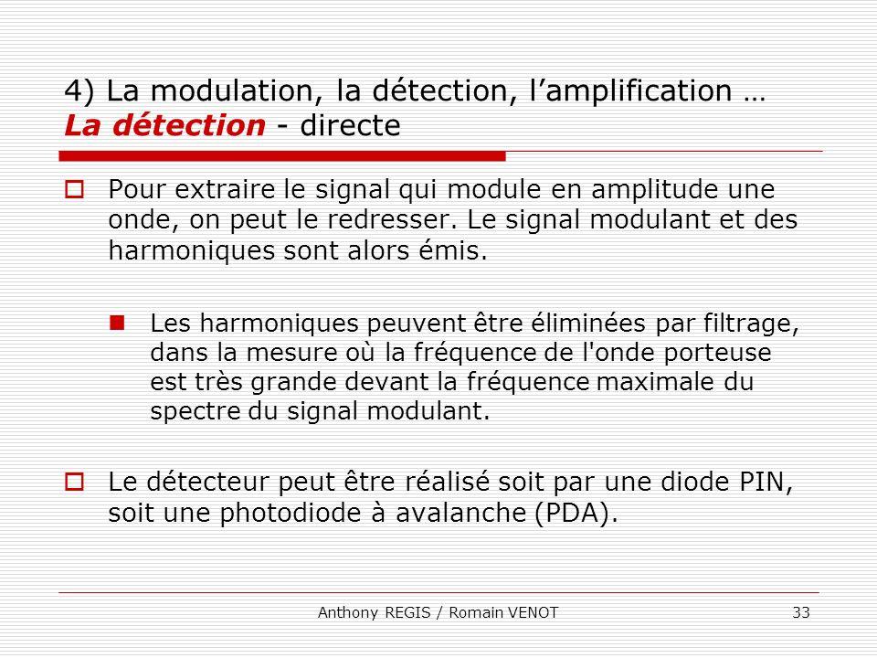 Anthony REGIS / Romain VENOT33 4) La modulation, la détection, lamplification … La détection - directe Pour extraire le signal qui module en amplitude