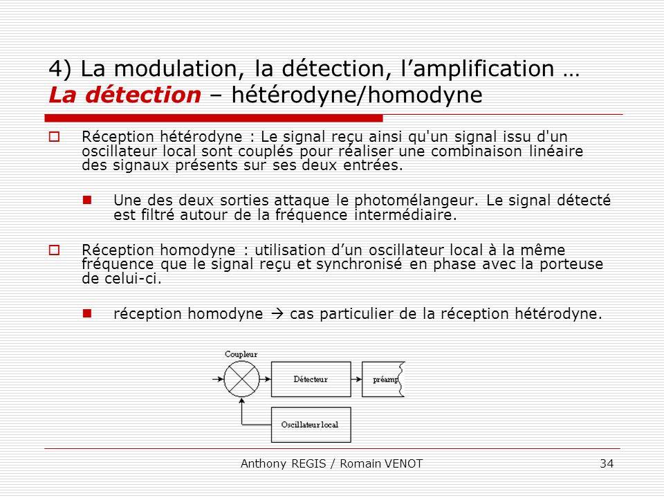 Anthony REGIS / Romain VENOT34 4) La modulation, la détection, lamplification … La détection – hétérodyne/homodyne Réception hétérodyne : Le signal re