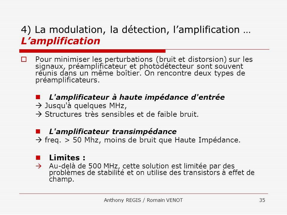 Anthony REGIS / Romain VENOT35 4) La modulation, la détection, lamplification … Lamplification Pour minimiser les perturbations (bruit et distorsion)