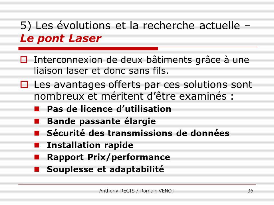 Anthony REGIS / Romain VENOT36 5) Les évolutions et la recherche actuelle – Le pont Laser Interconnexion de deux bâtiments grâce à une liaison laser e