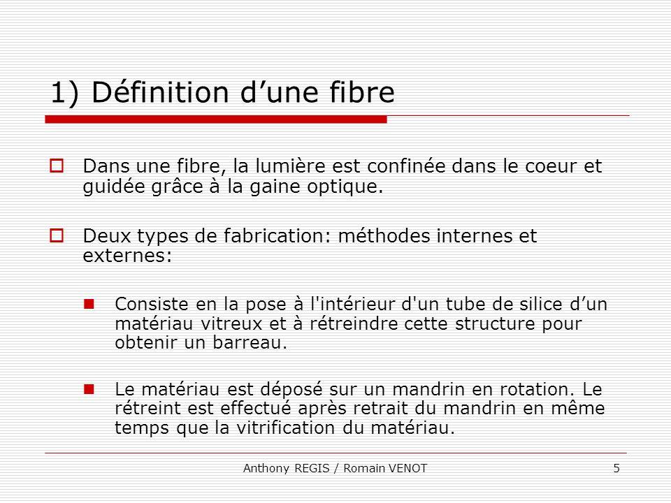 Anthony REGIS / Romain VENOT5 1) Définition dune fibre Dans une fibre, la lumière est confinée dans le coeur et guidée grâce à la gaine optique. Deux