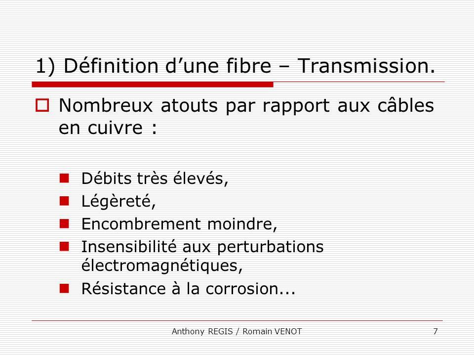 Anthony REGIS / Romain VENOT7 1) Définition dune fibre – Transmission. Nombreux atouts par rapport aux câbles en cuivre : Débits très élevés, Légèreté