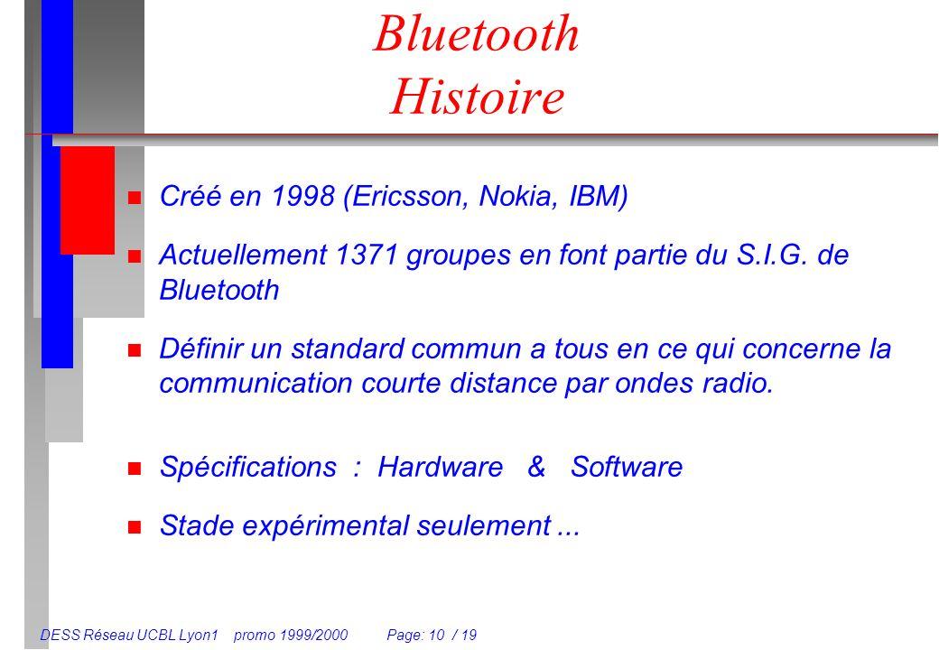 DESS Réseau UCBL Lyon1 promo 1999/2000 Page: 10 / 19 Bluetooth Histoire n Créé en 1998 (Ericsson, Nokia, IBM) n Actuellement 1371 groupes en font part