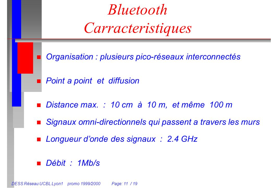 DESS Réseau UCBL Lyon1 promo 1999/2000 Page: 11 / 19 Bluetooth Carracteristiques n Organisation : plusieurs pico-réseaux interconnectés n Point a point et diffusion n Distance max.
